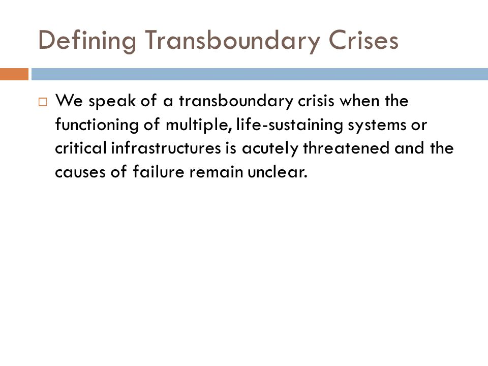 Defining Transboundary Crises