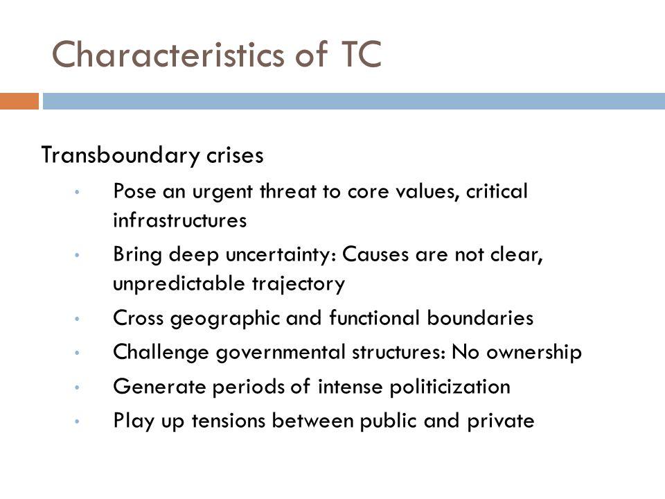 Characteristics of TC Transboundary crises
