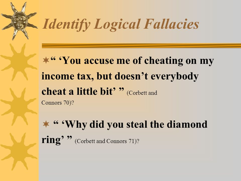identifying fallacies Students examine the fallacies that surround them every day, deconstruct fallacious images and messages in advertisements, and demonstrate their understanding of the fallacies through multimedia presentations.