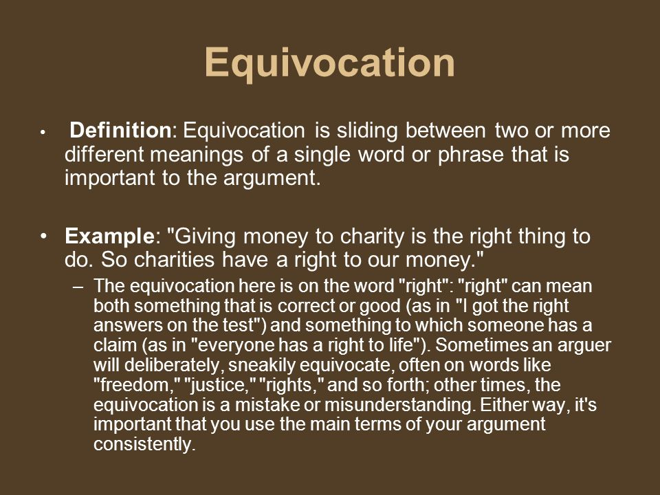 27 Equivocation Definition: Equivocation ...