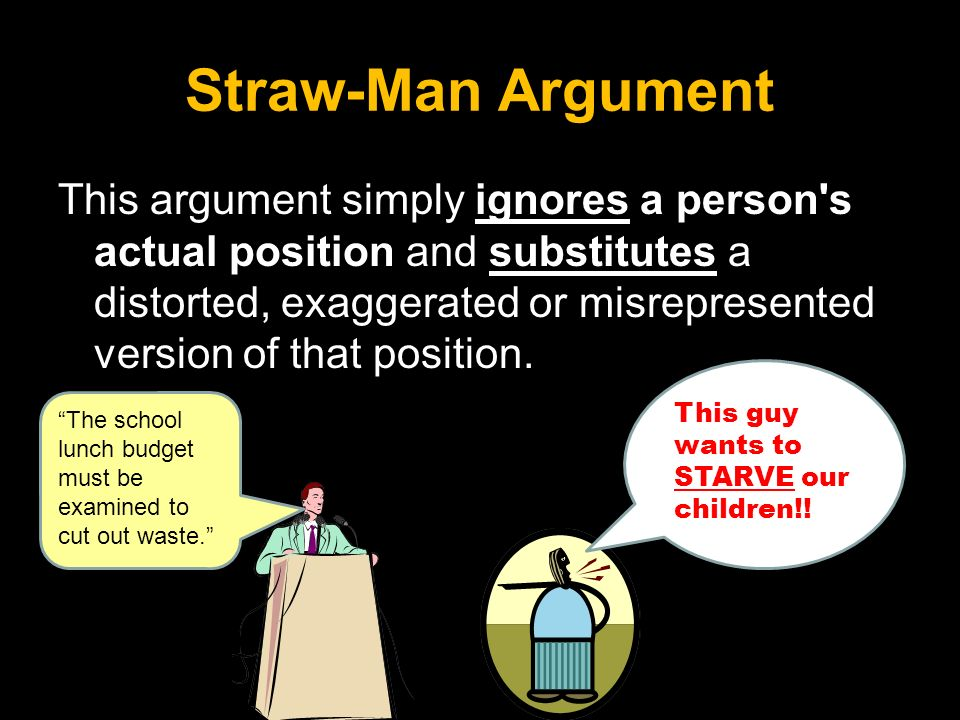 straw man fallacy essay example Straw man fallacy one fallacy that is evident in the article is straw man fallacy for example, usage of straw essay: english 103 topic.