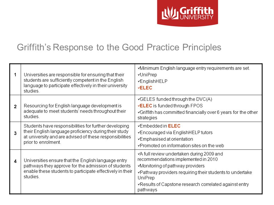 Griffith's Response to the Good Practice Principles