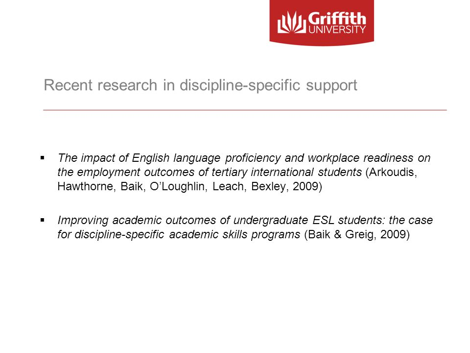 Recent research in discipline-specific support