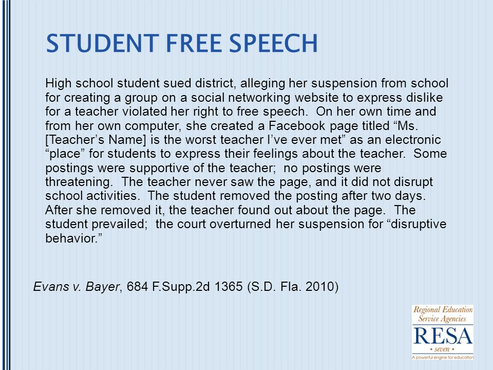 schools suppressing student free speech Deniers of the war on free speech on college campuses are dead wrong  after  a failed attempt to get her disinvited, the students repeatedly  campus speech  show disturbingly high approval for speech suppression, even by.