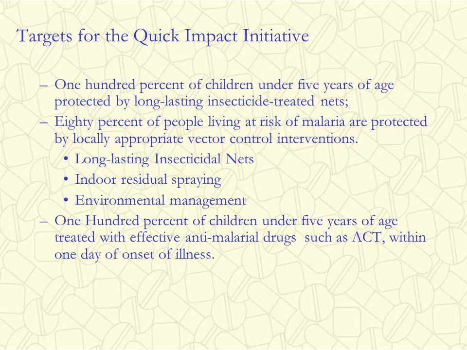 Targets for the Quick Impact Initiative
