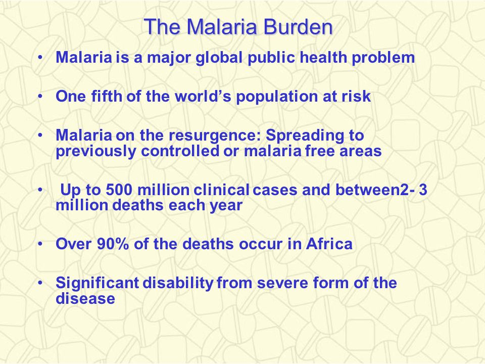 The Malaria Burden Malaria is a major global public health problem