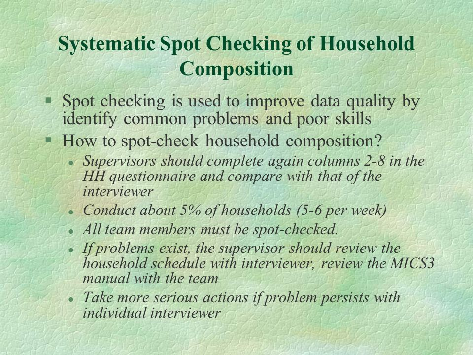 Systematic Spot Checking of Household Composition