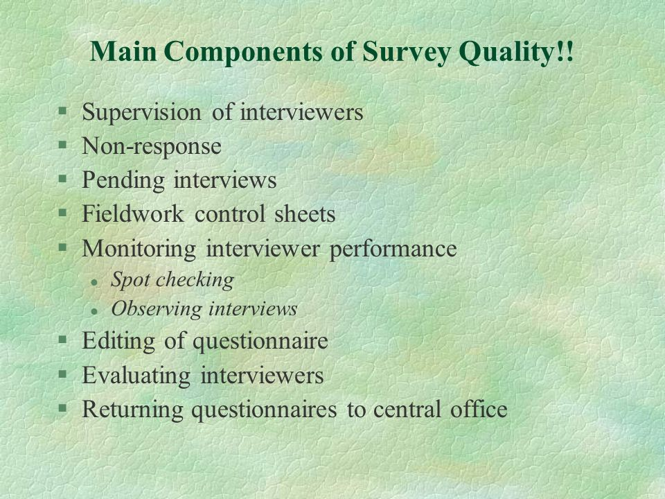 Main Components of Survey Quality!!
