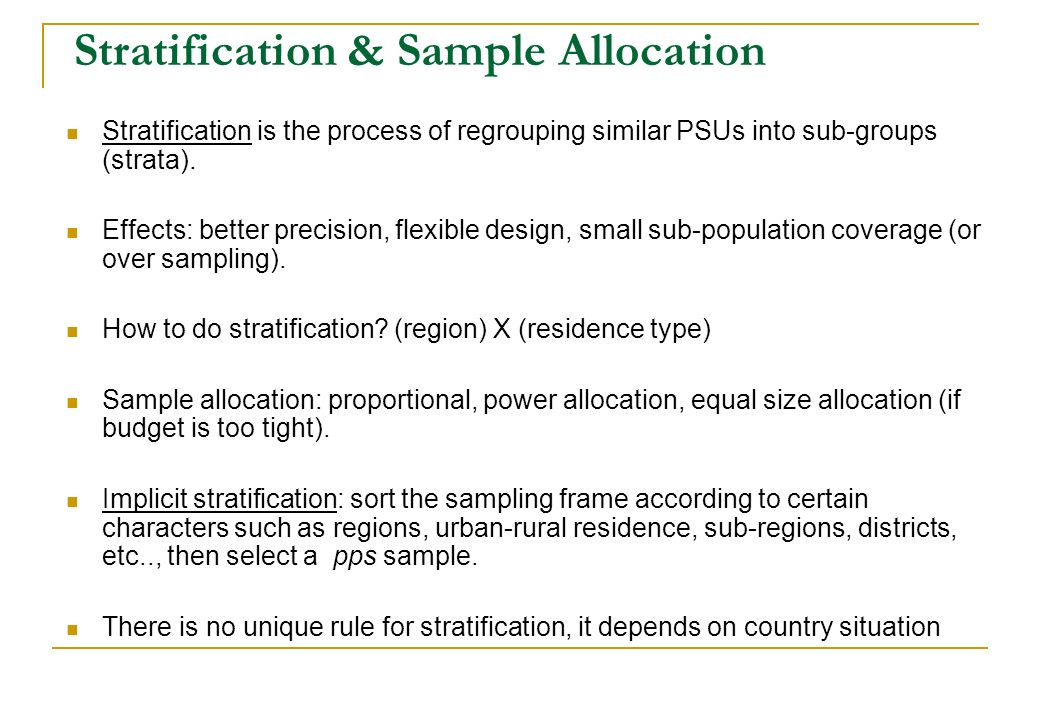 Stratification & Sample Allocation