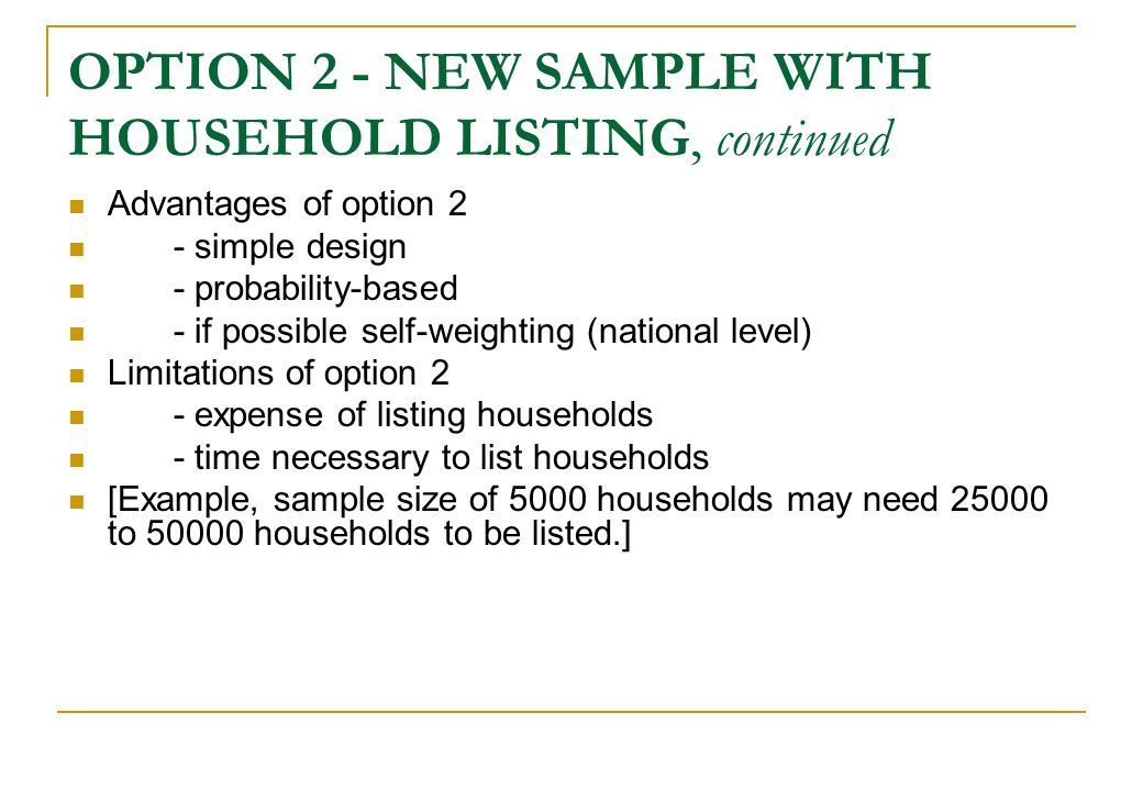 OPTION 2 - NEW SAMPLE WITH HOUSEHOLD LISTING, continued