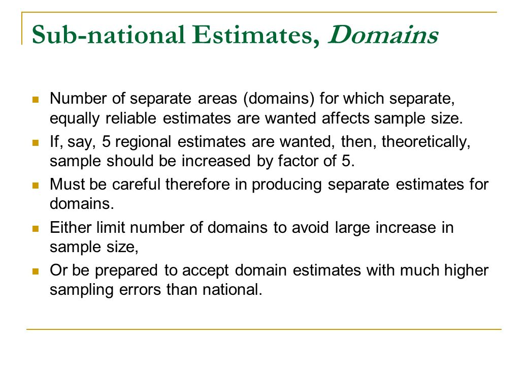 Sub-national Estimates, Domains