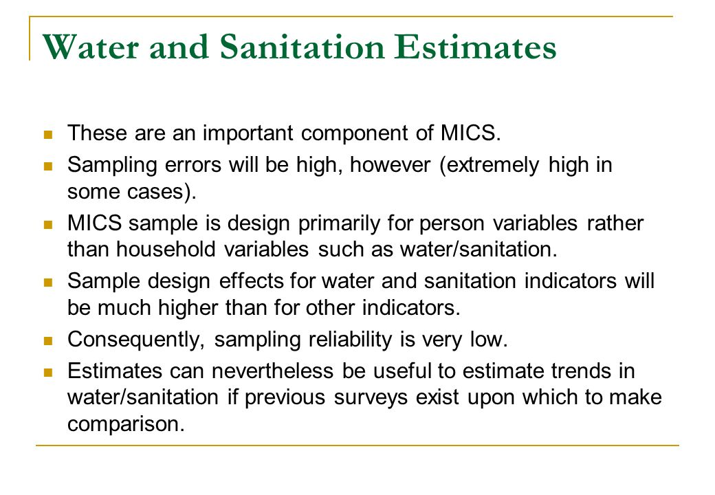 Water and Sanitation Estimates