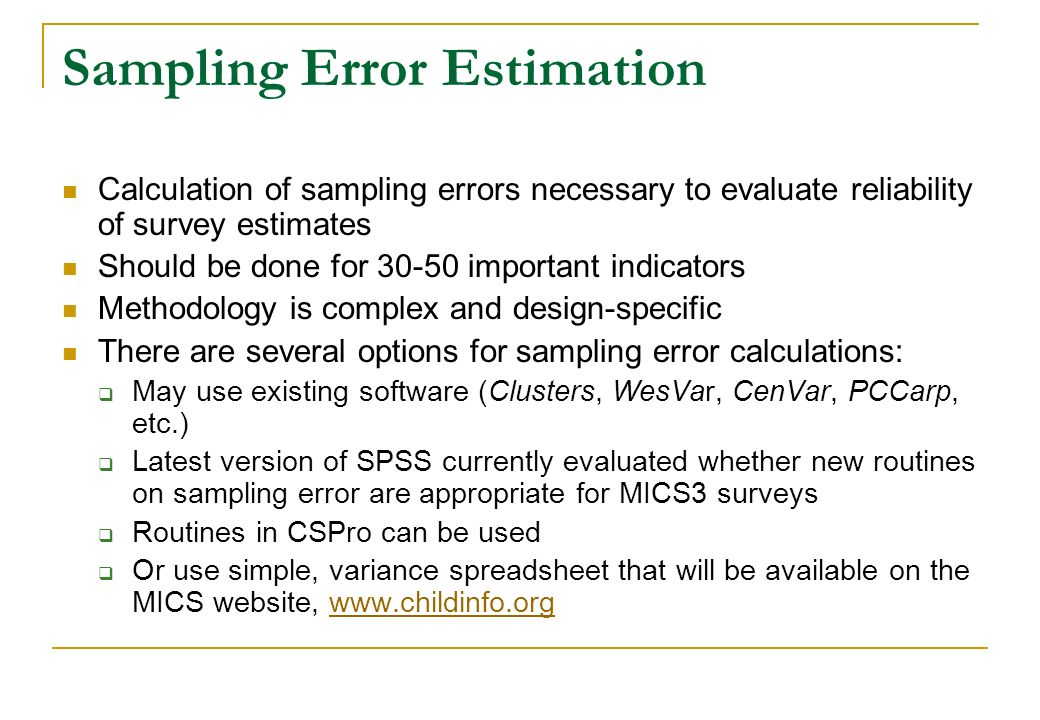 Sampling Error Estimation