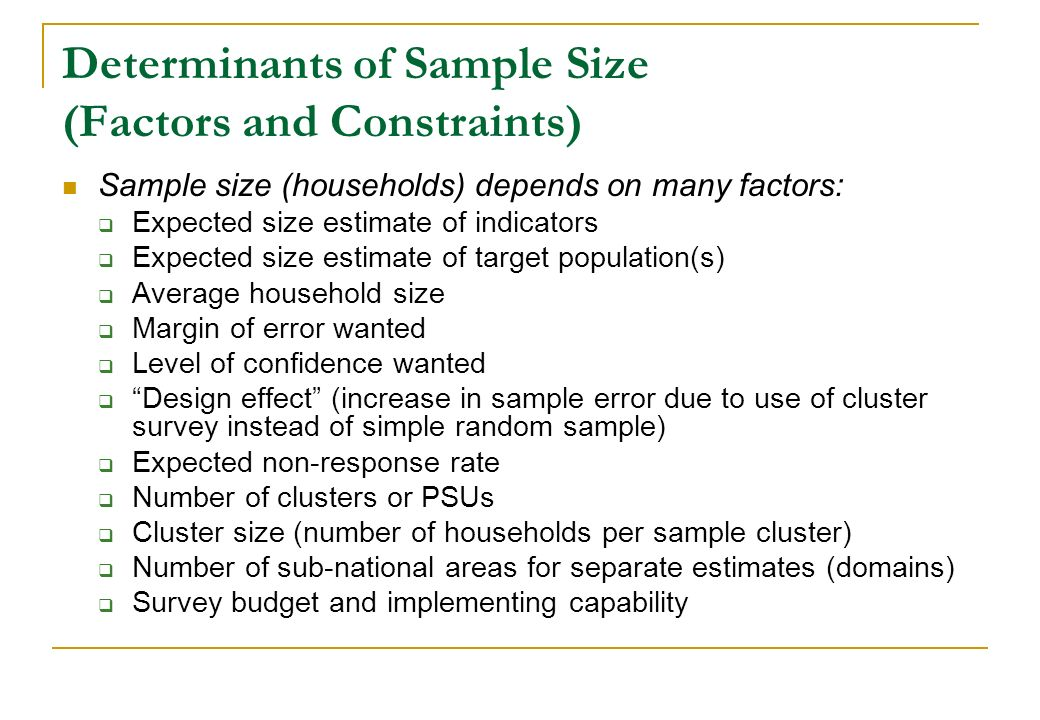Determinants of Sample Size (Factors and Constraints)