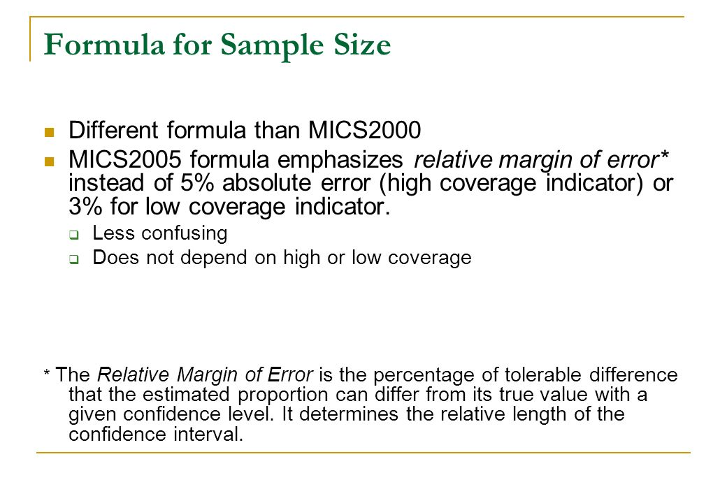 Formula for Sample Size