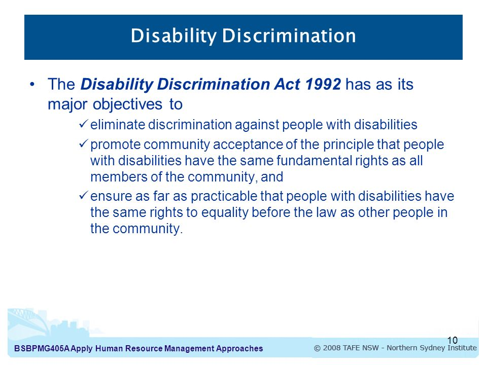 an analysis of disability discrimination act The law on disability discrimination, including the equality act 2010, the definition of disability, direct discrimination, indirect discrimination, justification.