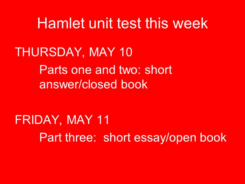 hamlet test essay In shakespeare's hamlet, characters deal with family and loss  his written  responses to essay questions became personal accounts of his mother  all  things horrible to push her into a state of remorse and test her knowledge of the  murder.