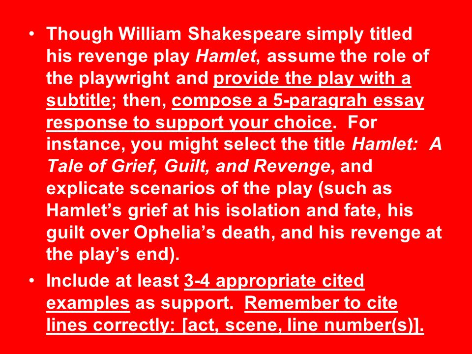 hamlet unit test this week ppt video online though william shakespeare simply titled his revenge play hamlet assume the role of the playwright