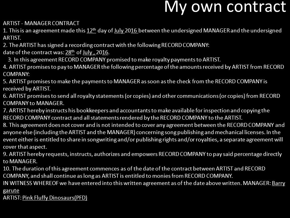 my own contract artist manager contract - What Is A Artist Manager