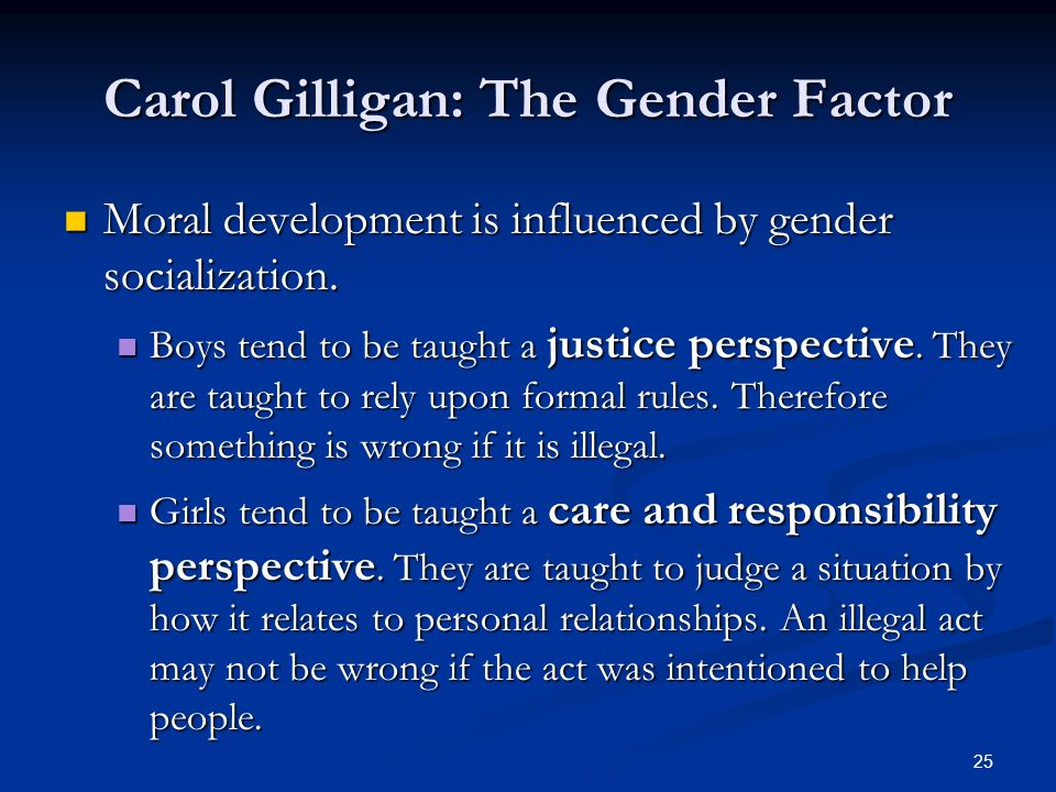 carol gilligan the gender factor Ebscohost serves thousands of libraries with premium essays, articles and other content including gender differences in moral development and acquisition: a review of kohlberg's and gilligan's models of justice and care.