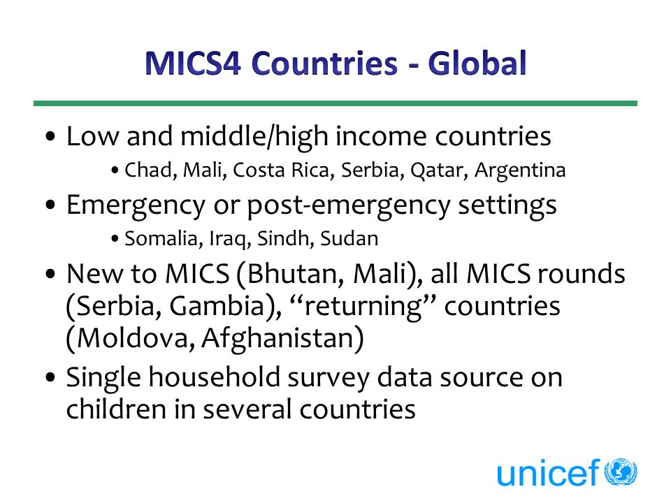 MICS4 Countries - Global