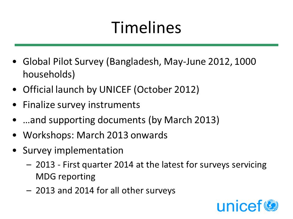 Timelines Global Pilot Survey (Bangladesh, May-June 2012, 1000 households) Official launch by UNICEF (October 2012)