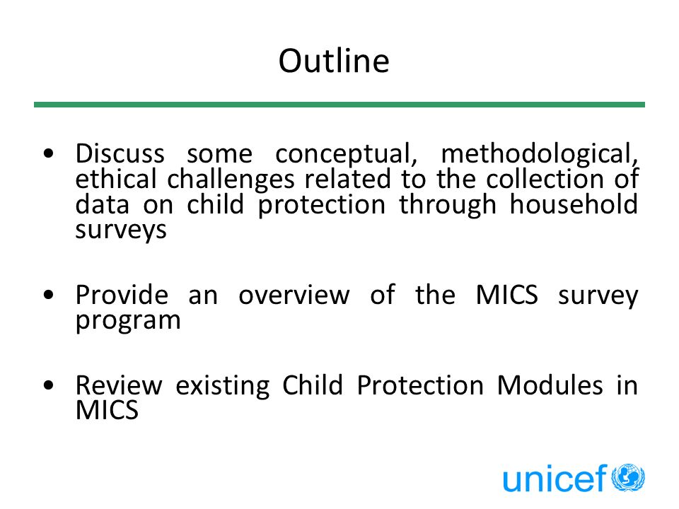 Outline Discuss some conceptual, methodological, ethical challenges related to the collection of data on child protection through household surveys.