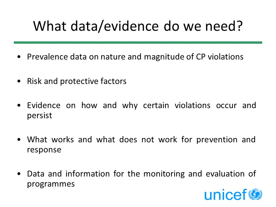What data/evidence do we need