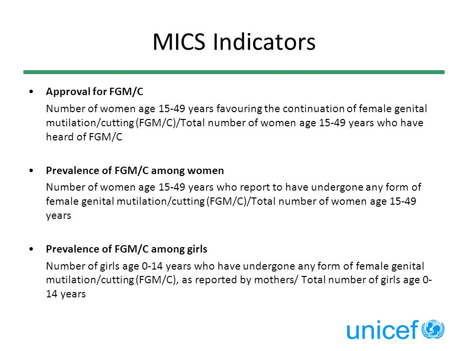 MICS Indicators Approval for FGM/C