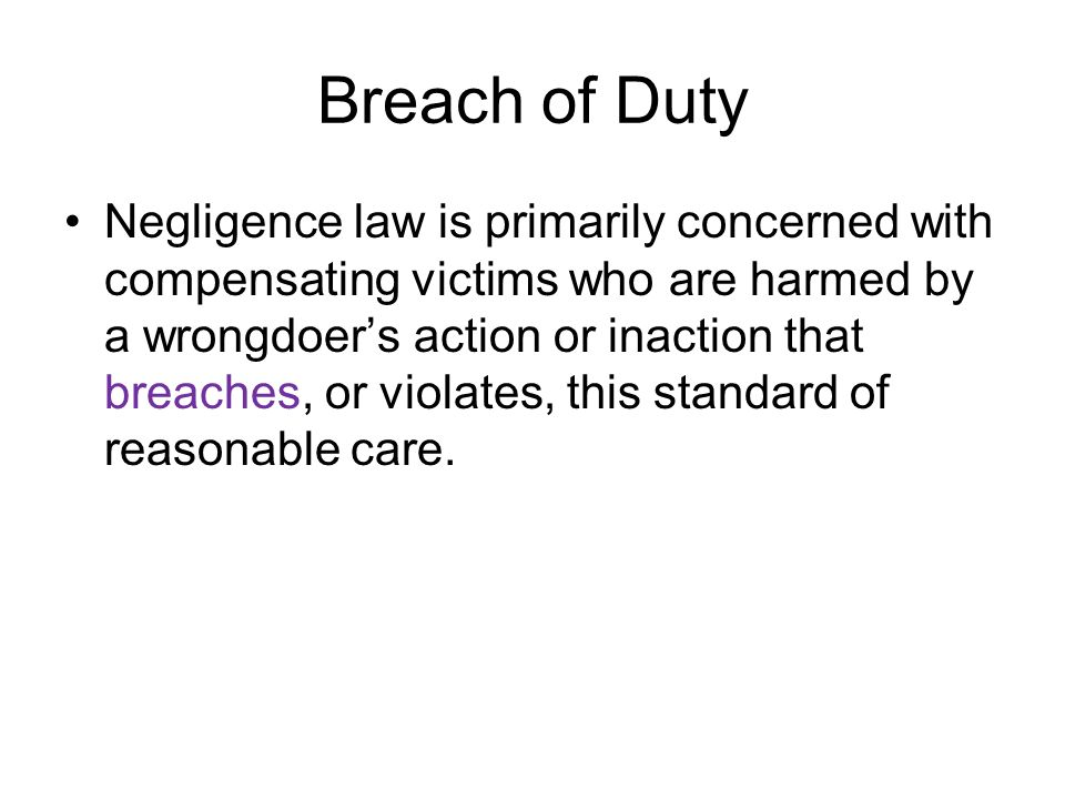 breach of duty of care essay