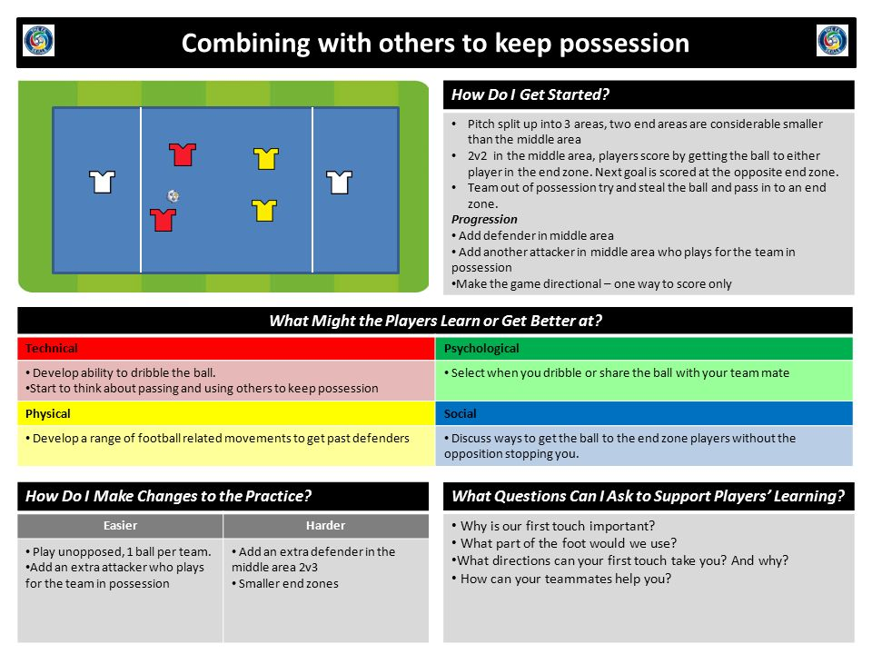 Combining with others to keep possession