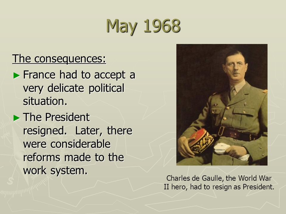 Charles de Gaulle, the World War II hero, had to resign as President.