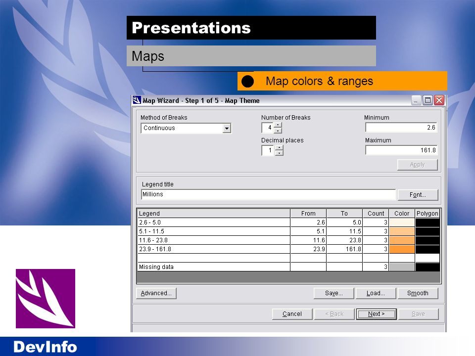 Presentations Map colors & ranges Maps