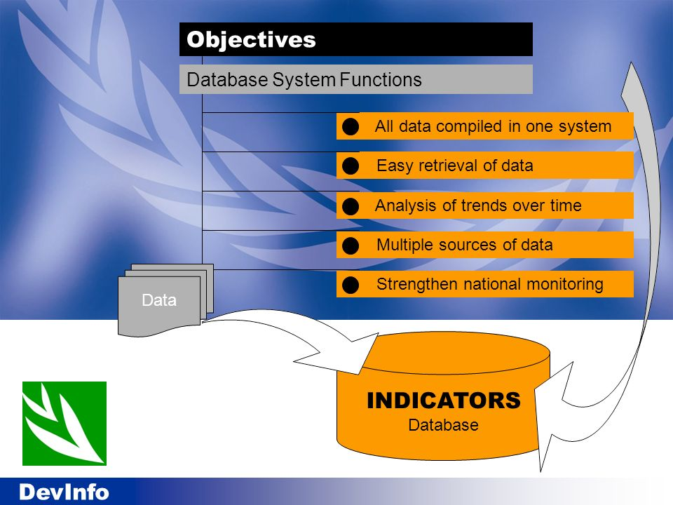 Objectives INDICATORS Database Database System Functions
