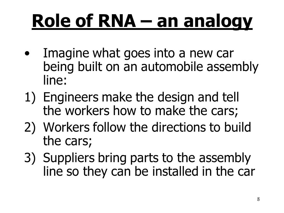 Role of RNA – an analogy Imagine what goes into a new car being built on an automobile assembly line: