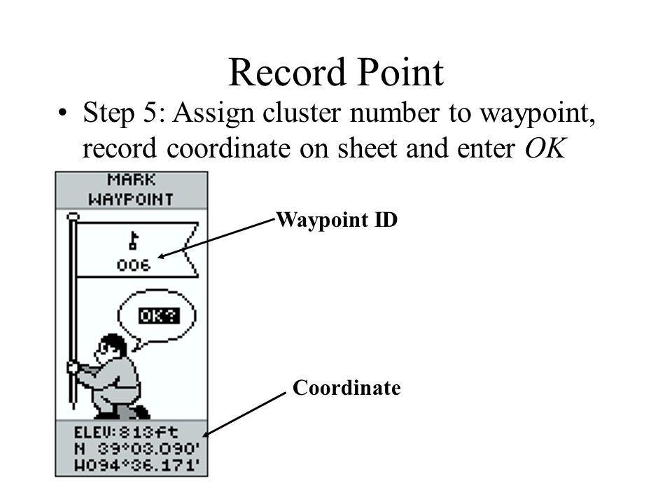 Record Point Step 5: Assign cluster number to waypoint, record coordinate on sheet and enter OK. Waypoint ID.