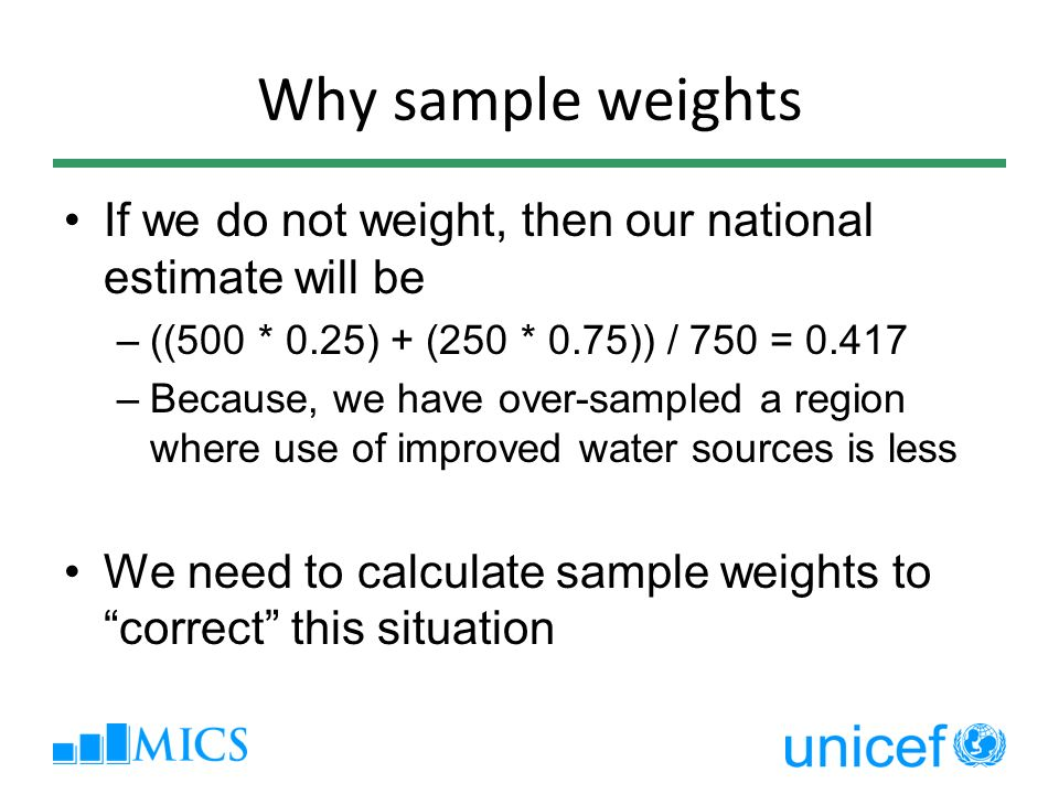 Why sample weights If we do not weight, then our national estimate will be. ((500 * 0.25) + (250 * 0.75)) / 750 = 0.417.