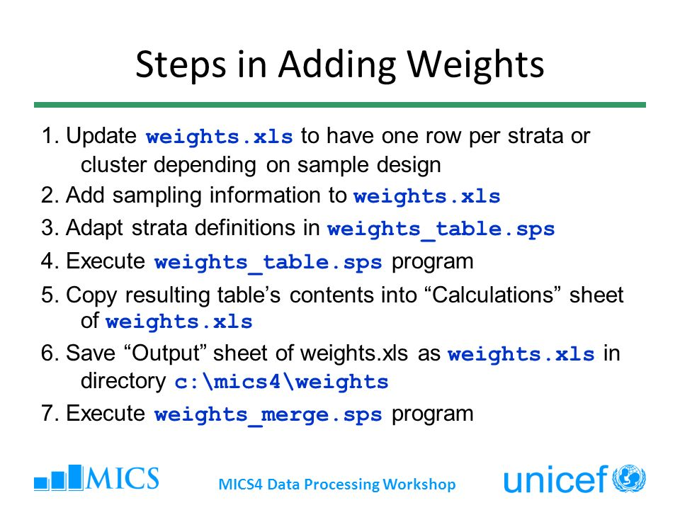 Steps in Adding Weights
