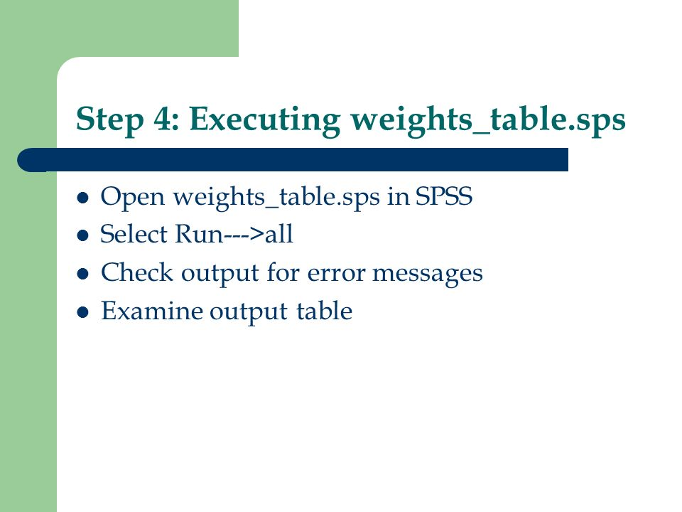 Step 4: Executing weights_table.sps