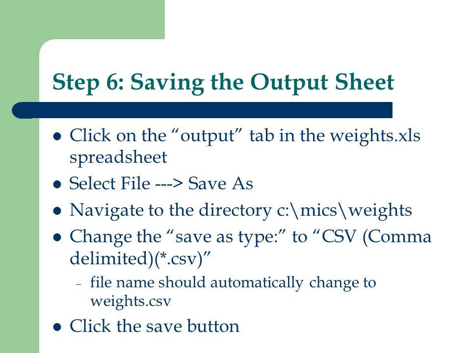 Step 6: Saving the Output Sheet