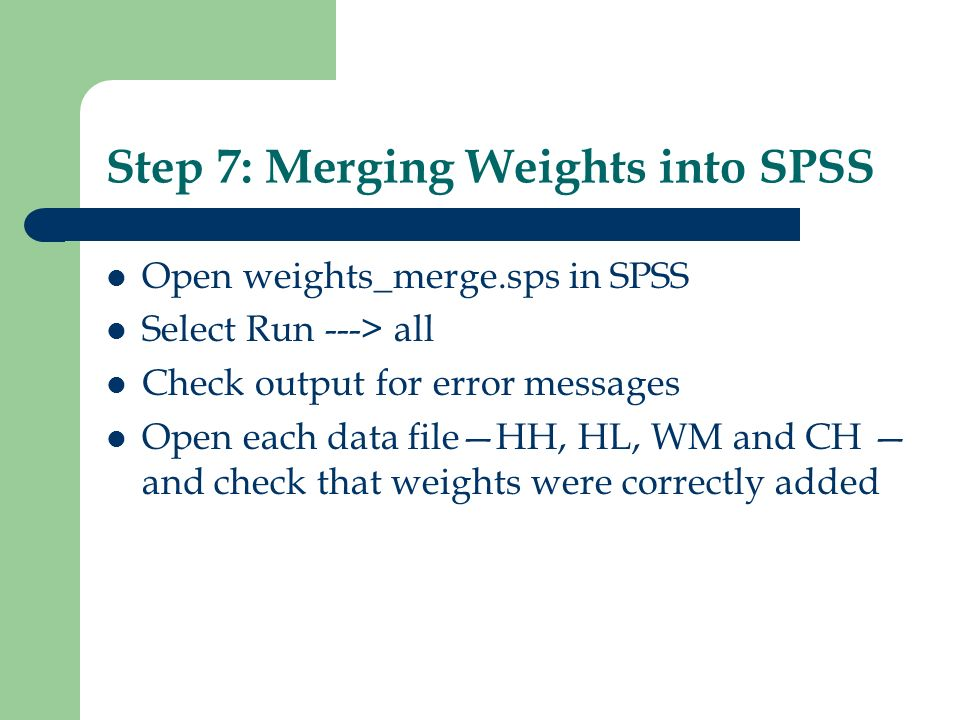 Step 7: Merging Weights into SPSS