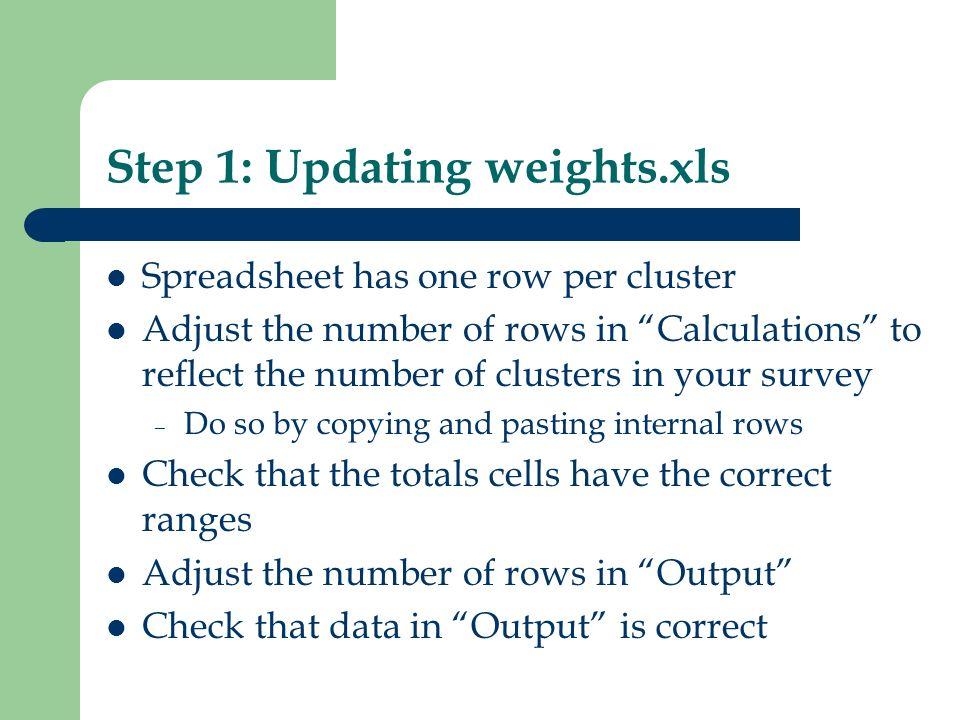 Step 1: Updating weights.xls