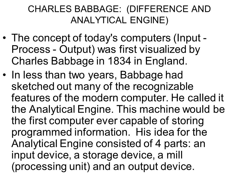 CHARLES BABBAGE: (DIFFERENCE AND ANALYTICAL ENGINE)