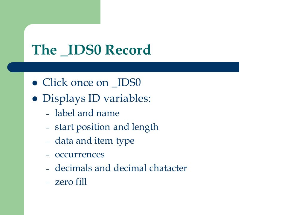 The _IDS0 Record Click once on _IDS0 Displays ID variables: