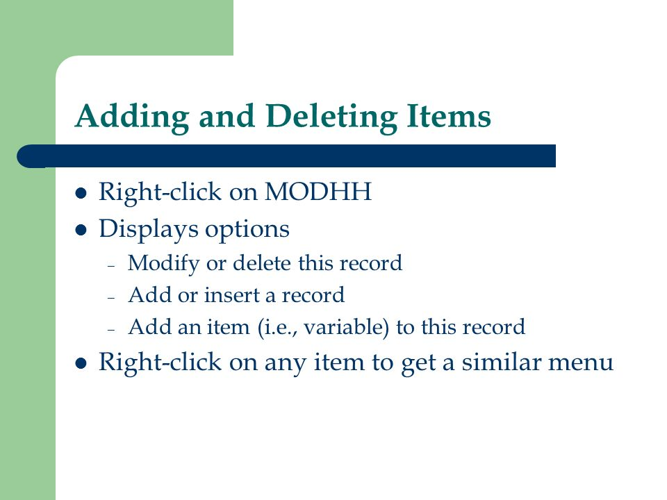 Adding and Deleting Items