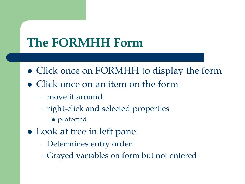 The FORMHH Form Click once on FORMHH to display the form