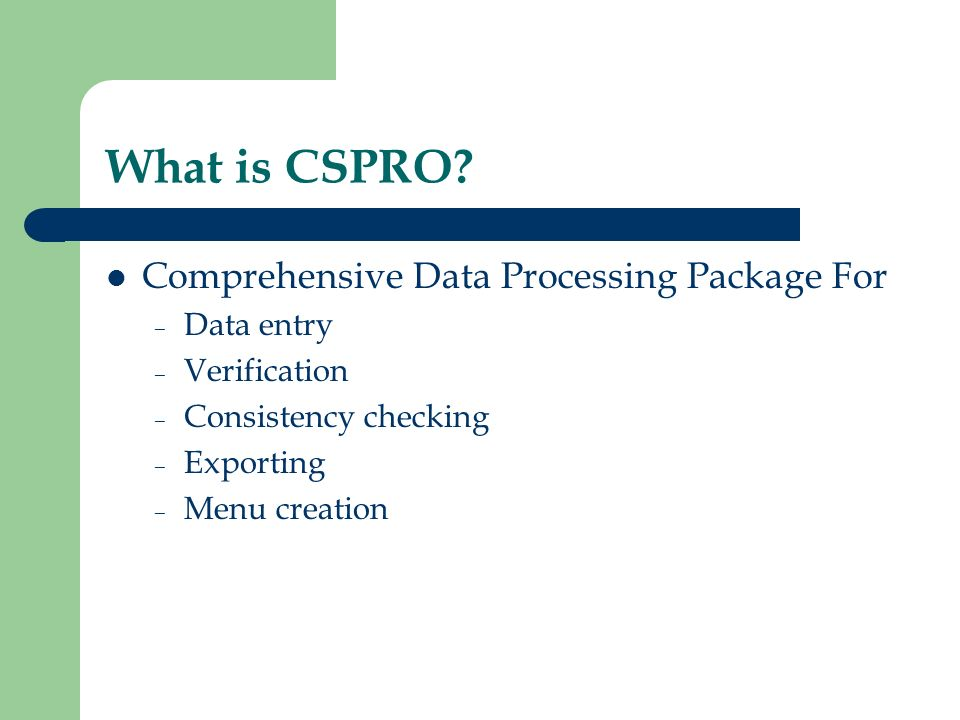 What is CSPRO Comprehensive Data Processing Package For Data entry