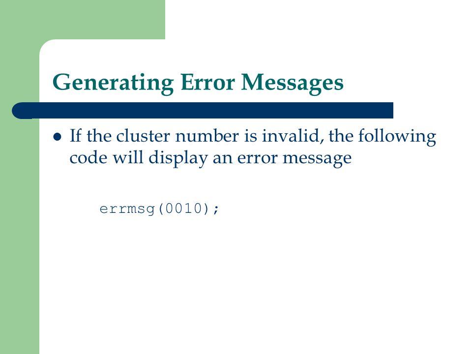 Generating Error Messages