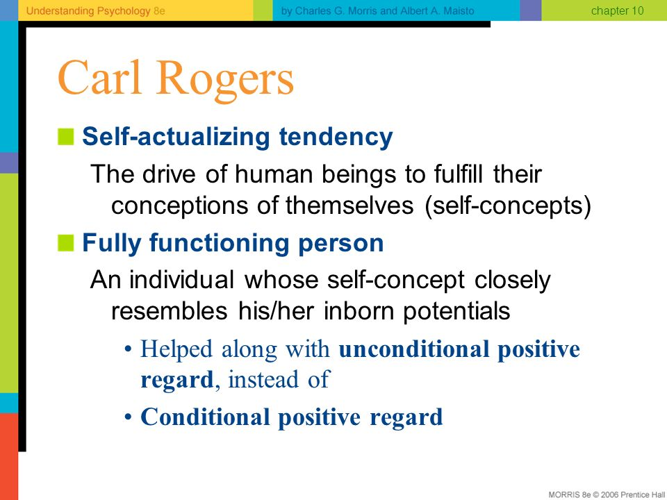 carl rogers self actualization and self Carl rogers also emphasized the importance of self-actualization in his client-centered therapeutic approach and theoretical writings like maslow, he used the term to designate a universal and innate tendency toward growth and fulfillment that governs the human personality .