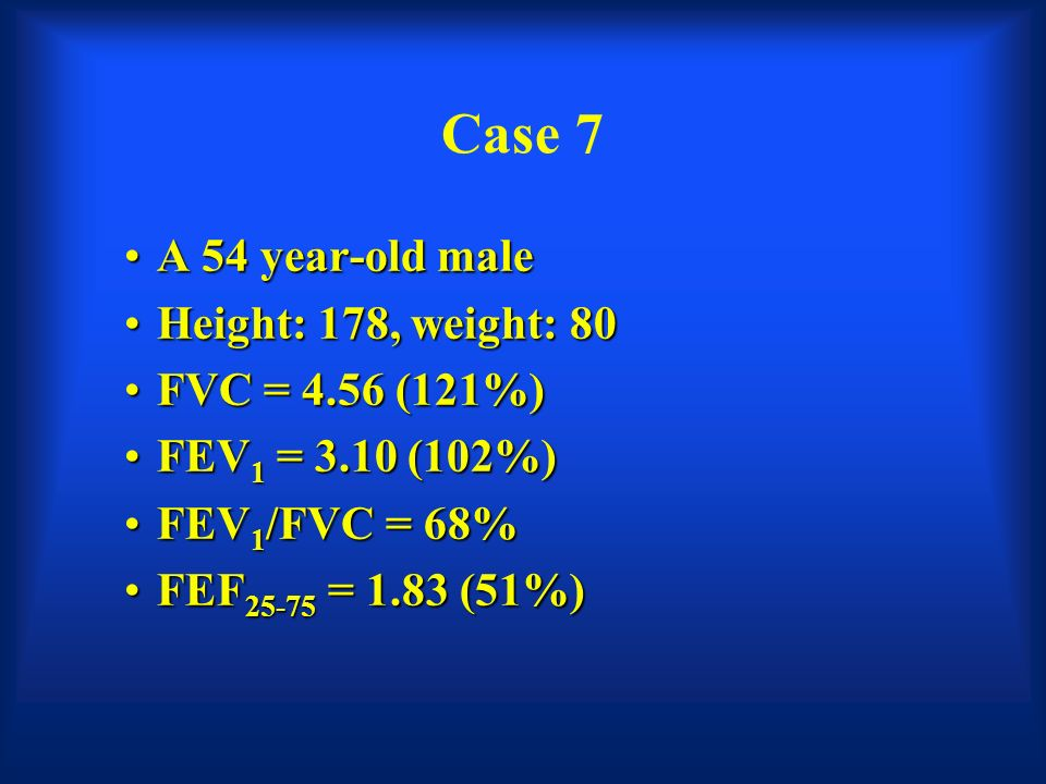 fvc case study 43 Measures of lung function: an analysis of data from a  among 630 children who  completed spirometry, fev1:fvc was less than 70% in ten (2%) children,   conversely, 24 (43%) of the 56 children with current asthma were negative on all   of the algorithm, in which case tests should be repeated.